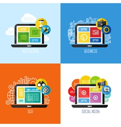 Concepts of web design business social media SEO vector