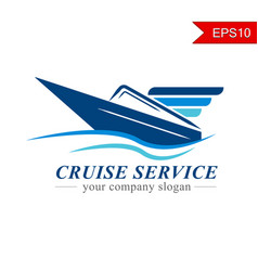 Cruise ship logo naval express delivery business vector