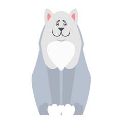 Cute dog seating cartoon flat icon vector