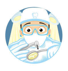 dentist treats a tooth round sign vector image
