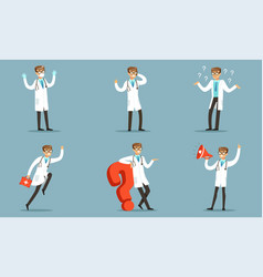 doctor character in different actions pondering a vector image