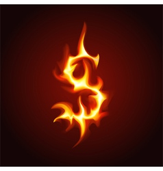 Dollar sign of fire vector
