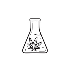 flask with marijuana extraction hand drawn outline vector image