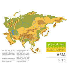 Flat asia physical map constructor elements vector