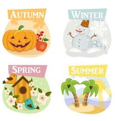 Four seasons flat icons vector image