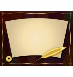 Gold feather frame vector