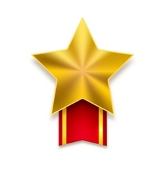 Golden star with red ribbon vector image