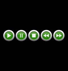 Green metallic music control buttons set vector
