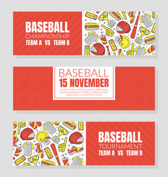Hand drawn baseball symbols used in ticket vector