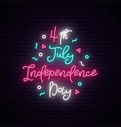 happy independence day usa neon sign luminous vector image