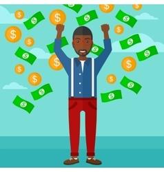 Happy man with flying money vector
