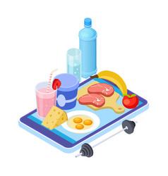 healthy diet app isometric mobile diet consultant vector image