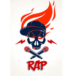 hip hop music logo or label with wicked skull and vector image