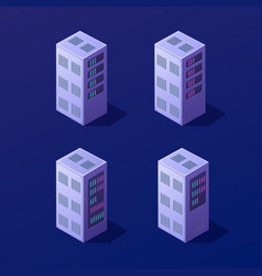 isometric 3d set blockchain vector image