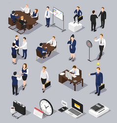 Isometric business meettings set vector