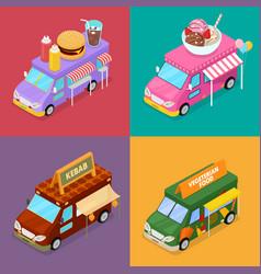 isometric street food trucks with burger vector image