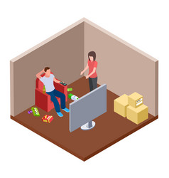 lazy husband watching tv with beer and garbage vector image