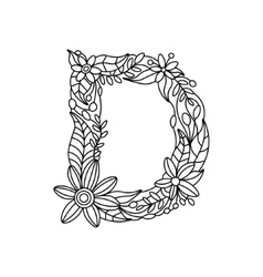 Letter D coloring book for adults vector image