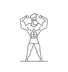 line design logo muscular man for crossfit gym vector image