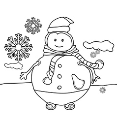 Line drawing snowman for coloring vector image