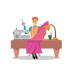 Male dressmaker sewing pink dress by sewing vector