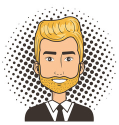 Man face in a cartoon pop art comic style vector