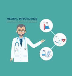 medical infographic doctor and icon vector image