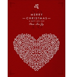 Merry christmas happy new year outline heart deco vector