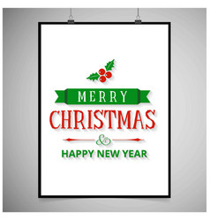 merry christmas with white frame vector image