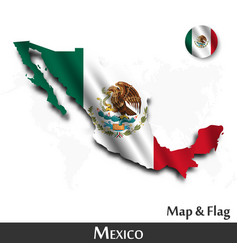 mexico map and flag waving textile design dot vector image