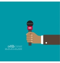 Microphone in hand journalist vector image