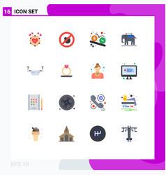 Mobile interface flat color set 16 pictograms vector