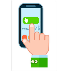 Mobile payment concept with human hand vector