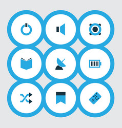 multimedia icons colored set with start charge vector image