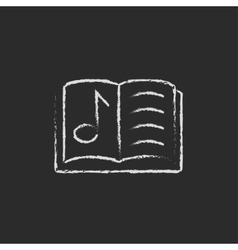 Music book icon drawn in chalk vector