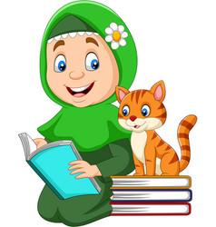 muslim girl reading a book with cat vector image
