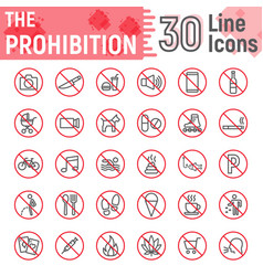 Prohibition line icon set forbidden signs vector