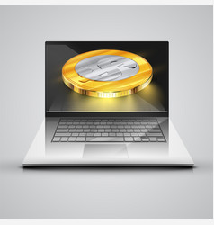 realistic notebook with money coins vector image