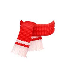 red knitted scarf with white woolen threads icon vector image