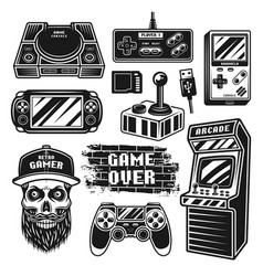 Retro gaming set objects or elements vector