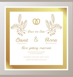 Romantic wedding invitation with gold rings vector