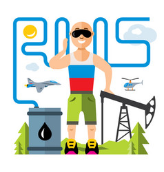 Russian oil industry humor concept flat vector