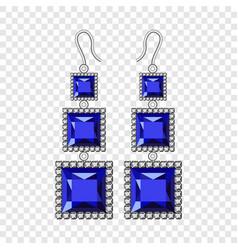 Sapphire earrings mockup realistic style vector