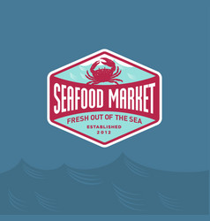 Seafood market restaurant logo red crab vector