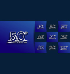 Set anniversary logo style with silver outline vector