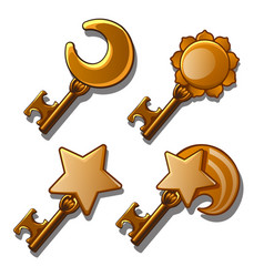 Set of gold keys on astronomical subjects vector