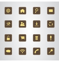 Set of icons on a brown leather texture with gold vector image