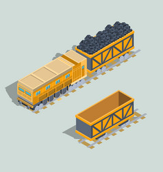 Set of locomotive and railway wagons with coal vector