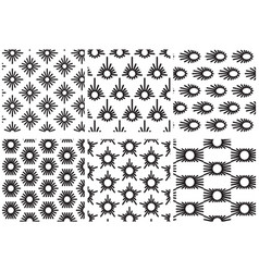 Set of monochrome seamless patterns six vector