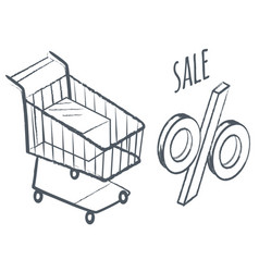 shopping card and percent sale discounts at shop vector image